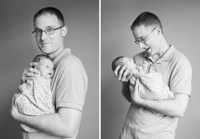 newborn girl with her dad